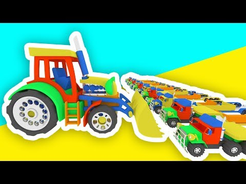Colors for Children to Learn with 3D Cars, Tractor & Cartoon Animation for Kids and Babies