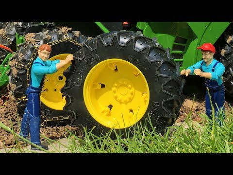 BRUDER TOYS tractor SAND transport! Extra Double power wheels!