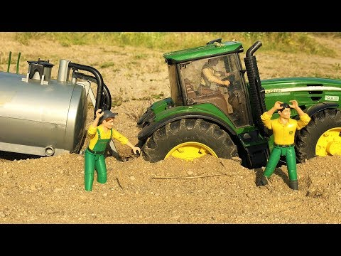 BRUDER TOYS RC Tractor in trouble! Toys sand ride action video for kids!